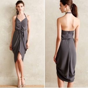 Paper Crown Anthropologie Ruched Slate Dress